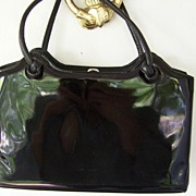 SALE Large Black Patent Vintage Handbag 13""