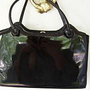 "SALE Large Black Patent Vintage Handbag 13"""