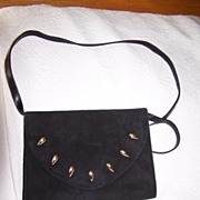 SALE Spanish Black Suede Leather  Shoulder Bag Clutch convertible mint!