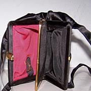 SALE Ingber Black Satin Evening Bag 2 Compartments Pristine!