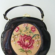SALE Fabrique Vintage French Black Patent Round Purse Needlepoint