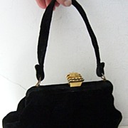 SALE L&M Black Velvet Handbag with Crown Clasp