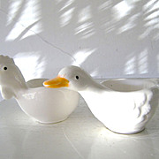SALE Vintage Duck and Chicken Porcelain Egg Cups