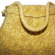 SALE Shimmery Gold Glass Bead Evening Bag  Hand Made
