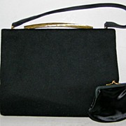 SALE Morris Moskowitz Black Wool Felt Handbag &  Mirror & Coin Purse