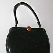 SALE Black Patent Handbag Root Beer Lucite Clasp