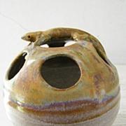 SALE Vintage, Signed Art Pottery Figural Floral Frog