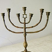 SALE Antique Brass Shabbat Menorah