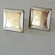 SALE Square silvertone & goldtone cufflinks