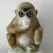 SALE Porcelain  Book End Contemplative Monkey