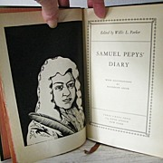 SOLD Samuel Pepy's Diary 1932 1st Edition  Book with Woodcuts - Red Tag Sale Item