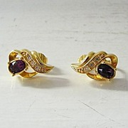 SALE Avon Faux Amethyst & Diamond Clip Earrings