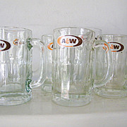 SALE 9 Assorted Sizes A and W Vintage Root Beer Glass Mugs