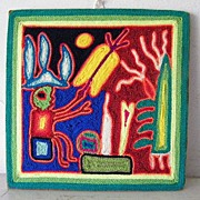 SALE Mexican Huichol Yarn Painting Folk Art Signed