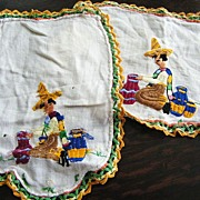 SOLD Mexican Motif Antimacassar Embroidery & Crochet