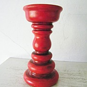SALE Groovy Huge Red Ceramic Pillar Candlestick circa 1970