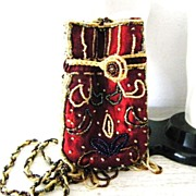 SALE Beaded Satin Crossbody Evening Bag Pouch