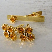 SALE Yellow Rhinestone Cufflinks & Tie Bar Set