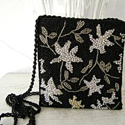 SALE Glass & Silver Beaded Sequined Evening Purse Shoulder Bag