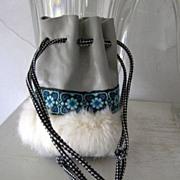 SALE Leather & Fur Medicine Bag Southwest Style mint!