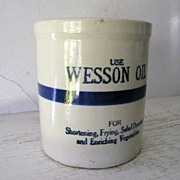 SALE Wesson Oil Stoneware Beater Jar 1923