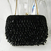 SALE Walberg Hand Made Black  Lucite Beaded handbag 2 rhinestone clasp