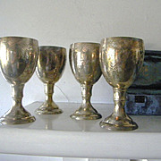 SALE 4 Silver Plate Vintage Meir Cohen Kiddush Cups in original packaging