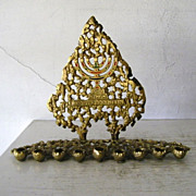 SOLD Brass & Enamel Hanukkah Menorah