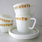 SALE Butterfly Gold Pyrex Mugs & Cups with Saucers 9 pieces