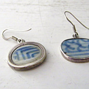 SALE Sterling Silver &  porcelain pottery shard Earrings