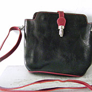 SALE VIGANT Black  Red Italian Leather Shoulder Bag Purse