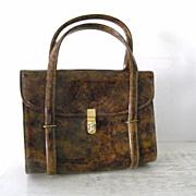 SALE Vintage CARA Tortoise  Brown Patent Handbag