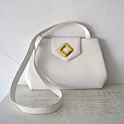 SALE Frances Patiky Stein White Italian leather Shoulder Bag Purse Mint
