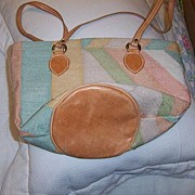 SALE Multi  Color Cotton and Leather Handbag