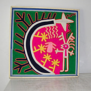 "SALE 15 1/2"" Huichol Yarn Art Painting Folk Art Mexico"