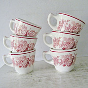 SALE Walker China Red Pink Roses flowers Restaurant Ware Cups set of six 6