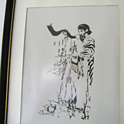 SALE Rabbi Blowing Shofar framed art print