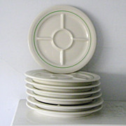 SOLD 7 Mint vintage divided Fondue Plates Shenango China Restaurant Ware 1956