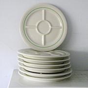 SALE 7 Mint vintage divided Fondue Plates Shenango China Restaurant Ware 1956