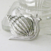 SALE Pewter  Snail Brooch by JJ