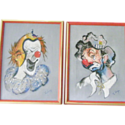 SALE Two 16  x 12 Framed and Signed Original Clown Paintings by Lang