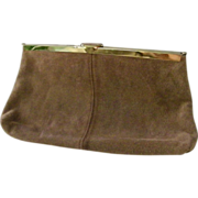 SALE Etra Tan Suede Leather Clutch Shoulder Bag Purse Convert
