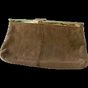 SALE Etra Tan Suede Leather Clutch Shoulder Bag Purse Convert