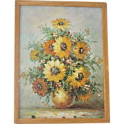 SALE FREE Ship! Framed Original Sunflower Painting on Stretched Canvas