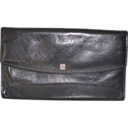 SALE Hand Stained Black Leather Bosca Checkbook Clutch Wallet