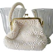 SALE White Beaded Handbag Hong Kong Excellent Condition