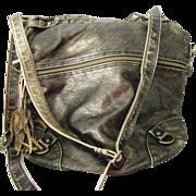 "SOLD LARGE American Rag Gold tone metallic Purse Handbag soft sided 13"" Adjustable"