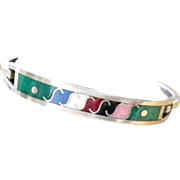 SALE Mexican Silver and Enamel Hinged Bracelet 13.1 grams