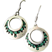 SALE Taxco Mexican Silver Malachite and Onyx hoop earrings