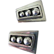 SALE Mexican 925 Silver Clip Earrings trapezoid shape 16 grams